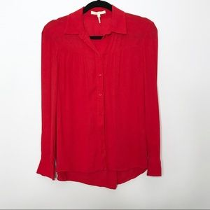 Maje Red Button Down Blouse Top Size 1 / Small S